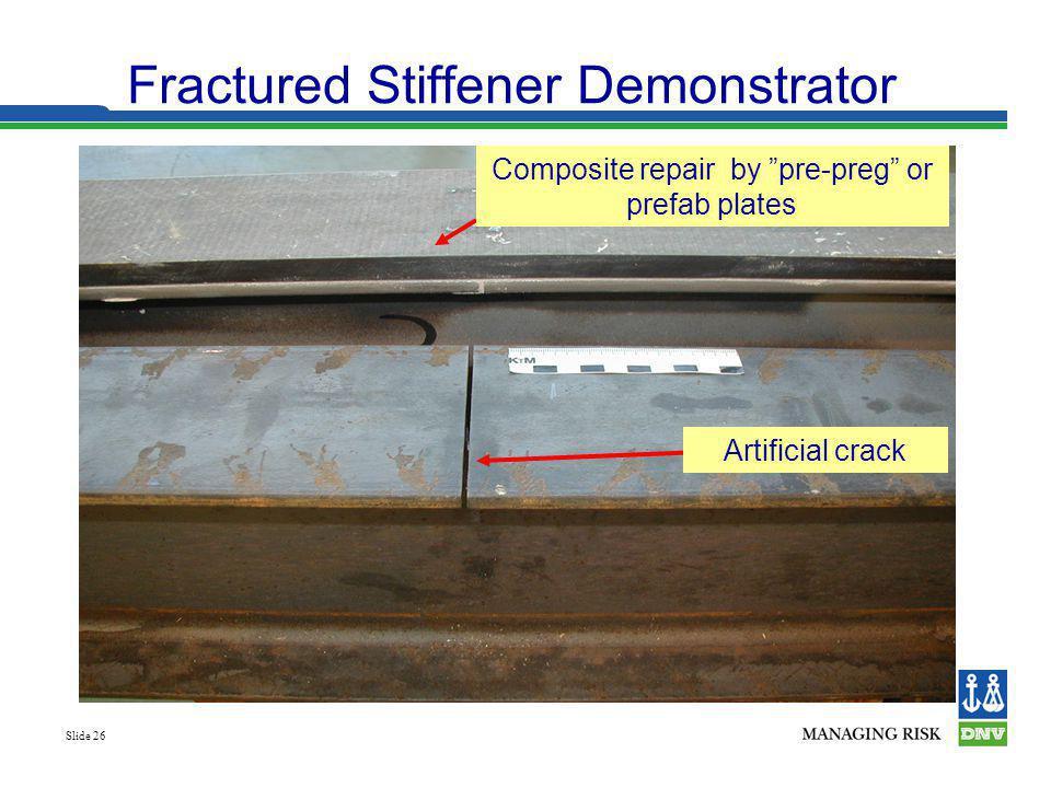 Slide 26 Fractured Stiffener Demonstrator Artificial crack Composite repair by pre-preg or prefab plates
