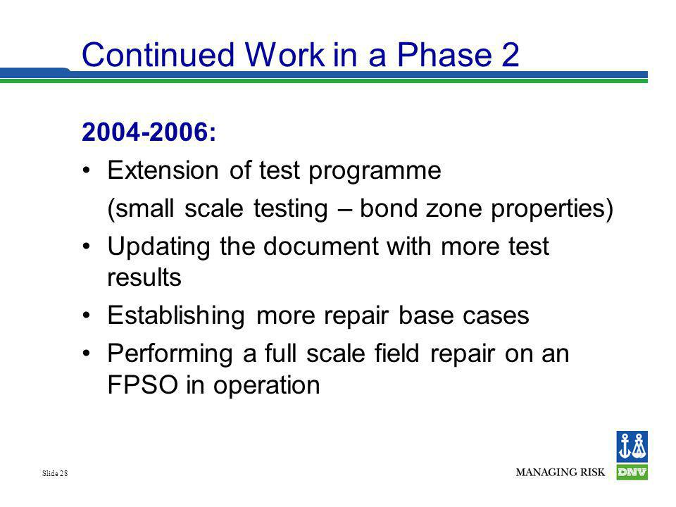 Slide 28 Continued Work in a Phase 2 2004-2006: Extension of test programme (small scale testing – bond zone properties) Updating the document with mo