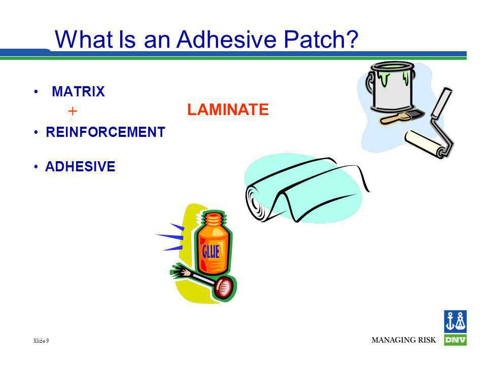 Slide 9 MATRIX What Is an Adhesive Patch? LAMINATE + ADHESIVE REINFORCEMENT