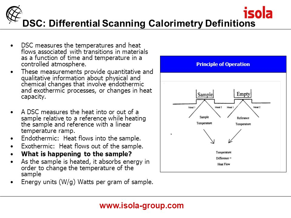 www.isola-group.com DSC: Differential Scanning Calorimetry Definitions DSC measures the temperatures and heat flows associated with transitions in materials as a function of time and temperature in a controlled atmosphere.