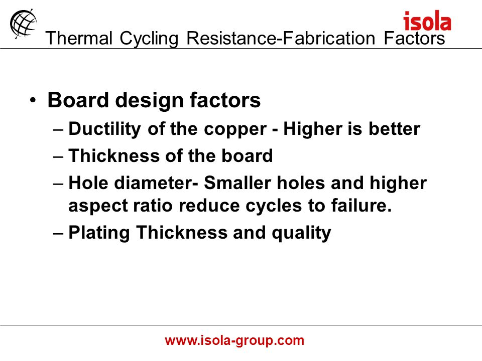 www.isola-group.com Board design factors –Ductility of the copper - Higher is better –Thickness of the board –Hole diameter- Smaller holes and higher aspect ratio reduce cycles to failure.