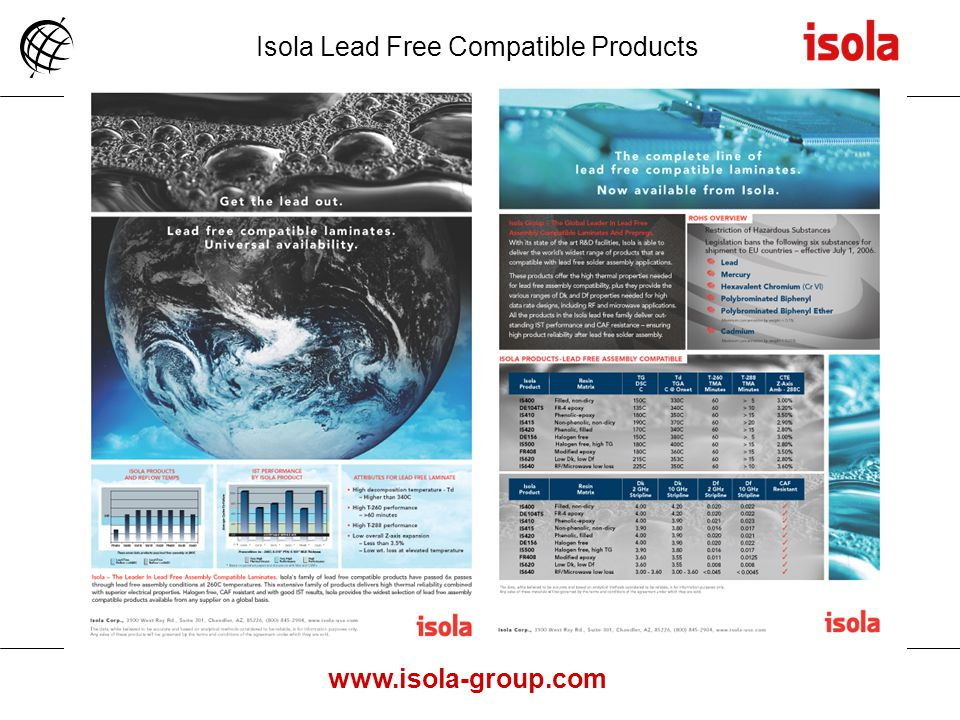 www.isola-group.com Isola Lead Free Compatible Products