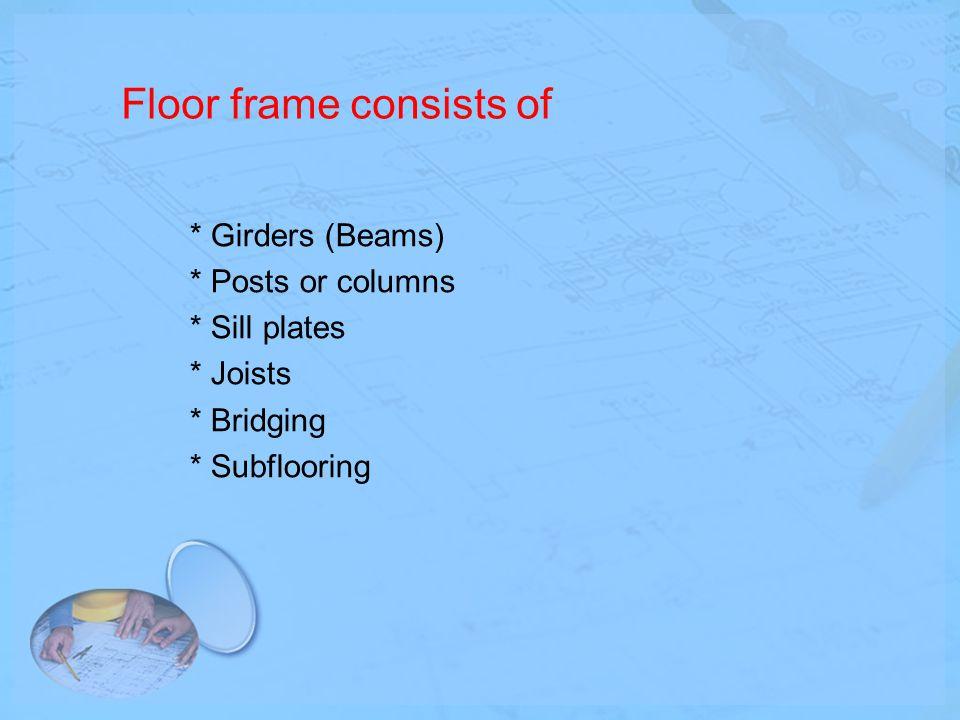 Floor frame consists of * Girders (Beams) * Posts or columns * Sill plates * Joists * Bridging * Subflooring