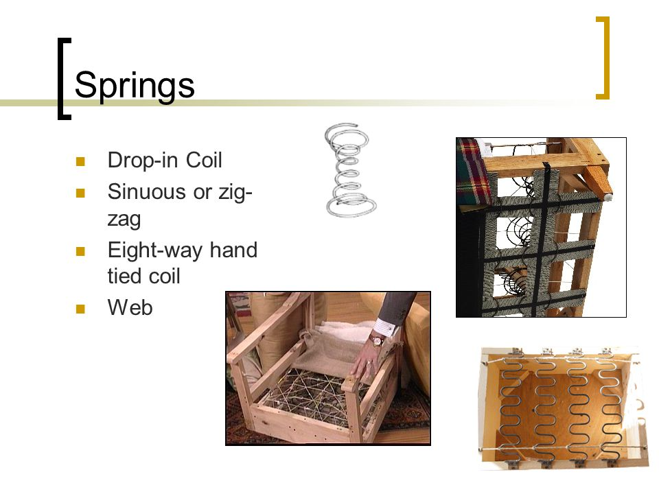 Springs Drop-in Coil Sinuous or zig- zag Eight-way hand tied coil Web