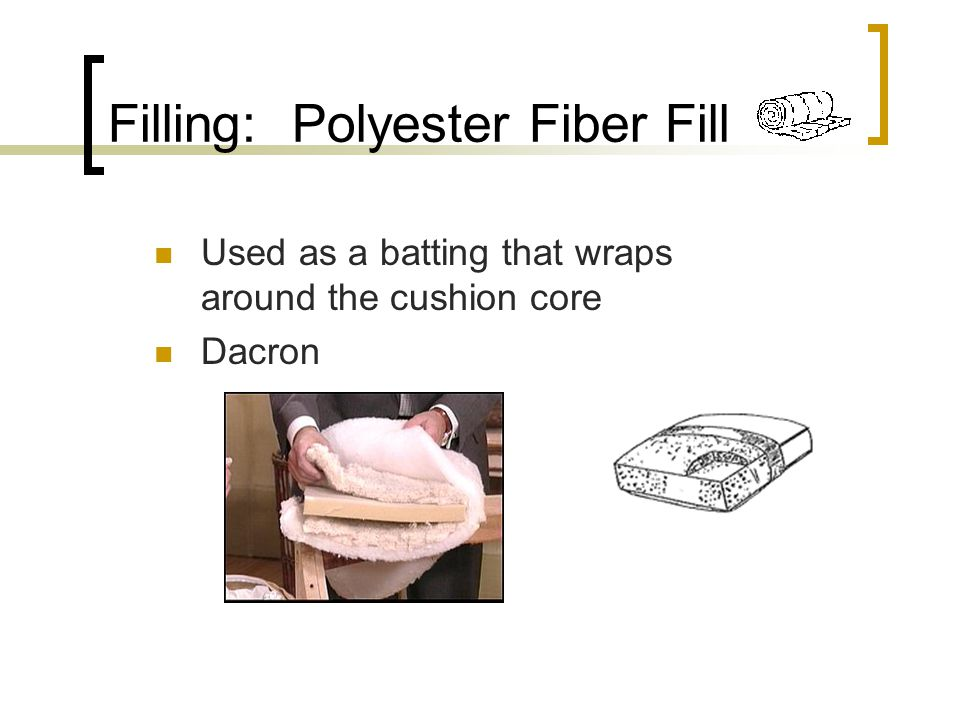 Filling: Polyester Fiber Fill Used as a batting that wraps around the cushion core Dacron