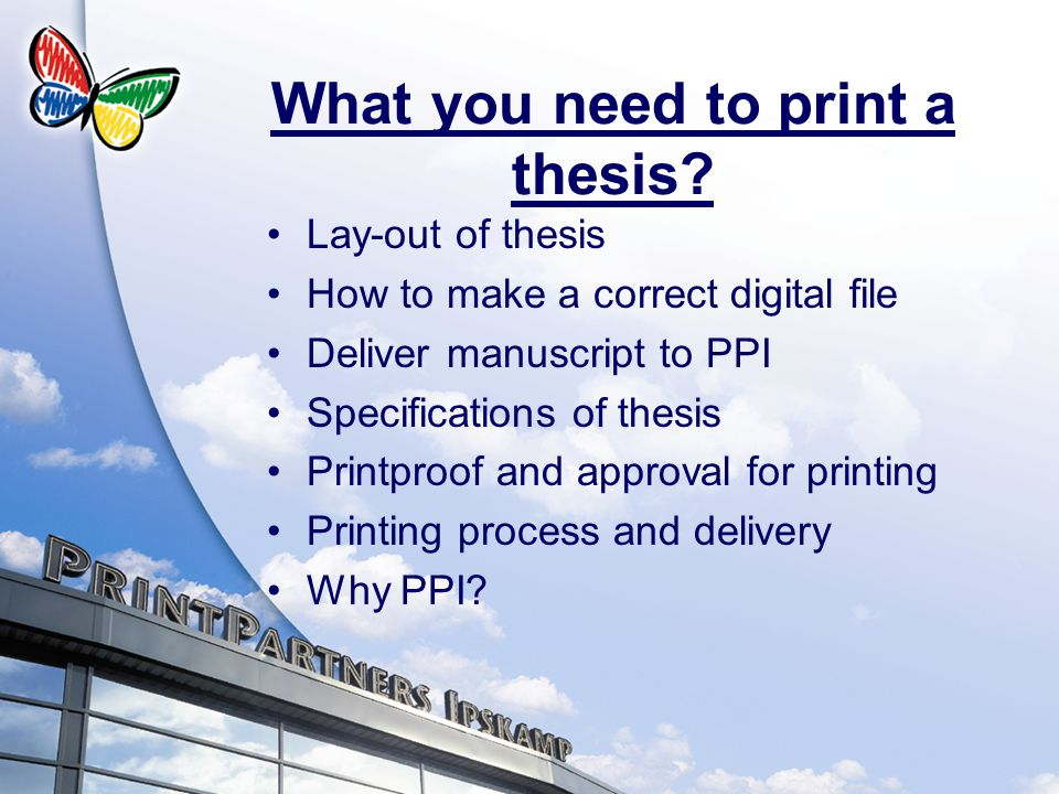 What you need to print a thesis.