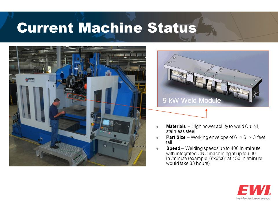 Current Machine Status Materials – High power ability to weld Cu, Ni, stainless steel Part Size – Working envelope of 6- × 6- × 3-feet tall Speed – Welding speeds up to 400 in./minute with integrated CNC machining at up to 600 in./minute (example: 6x6x6 at 150 in./minute would take 33 hours) 9-kW Weld Module