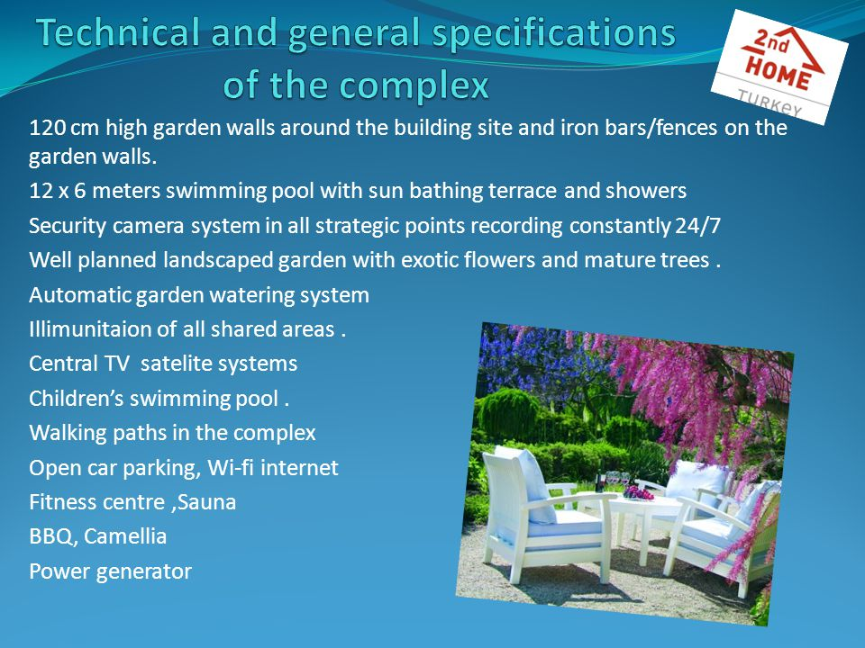 120 cm high garden walls around the building site and iron bars/fences on the garden walls.
