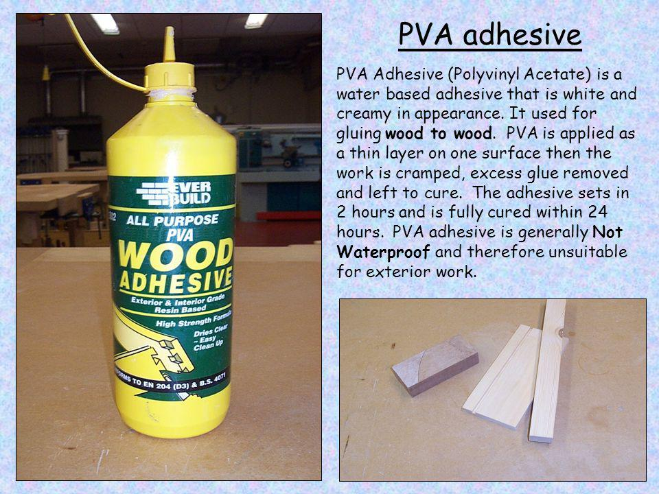 PVA adhesive One of the main problems with PVA adhesive is illustrated in these three pictures.