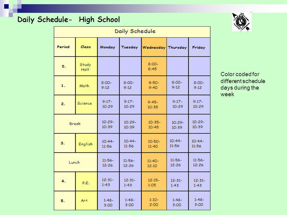 Daily Schedule- High School Color coded for different schedule days during the week