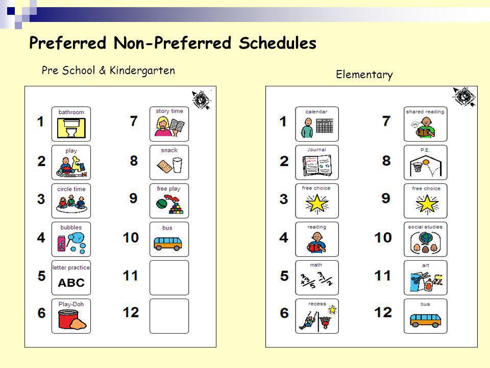 Preferred Non-Preferred Schedules Pre School & Kindergarten Elementary