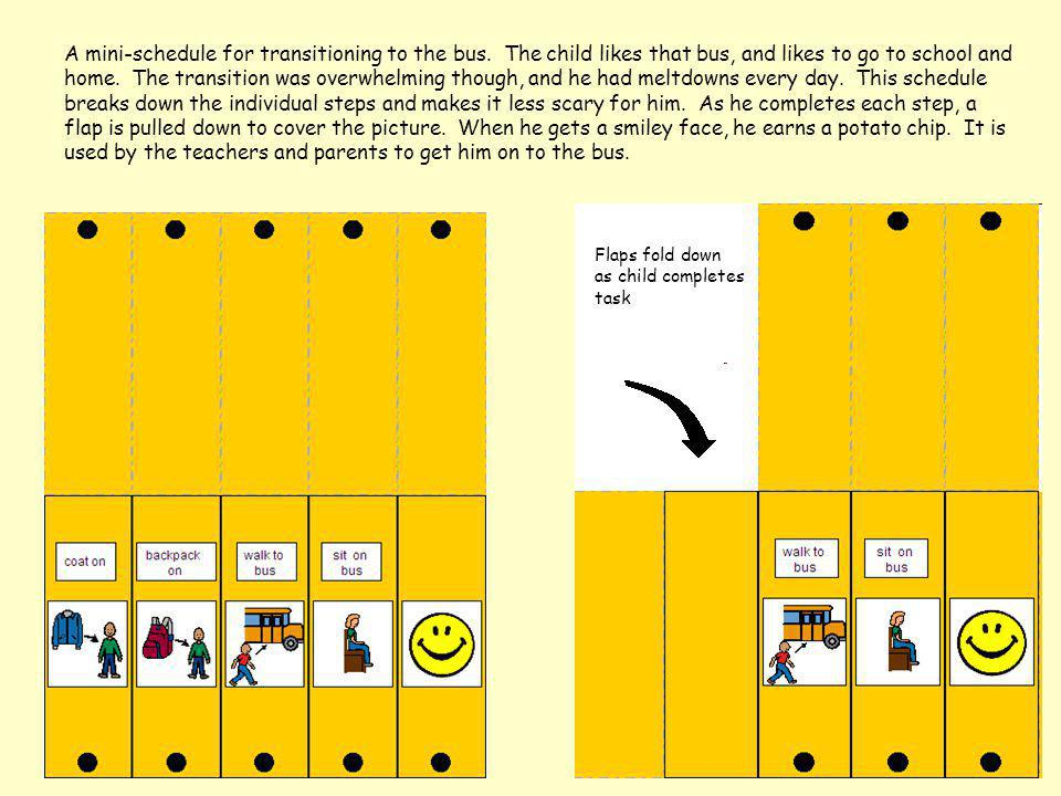 A mini-schedule for transitioning to the bus. The child likes that bus, and likes to go to school and home. The transition was overwhelming though, an