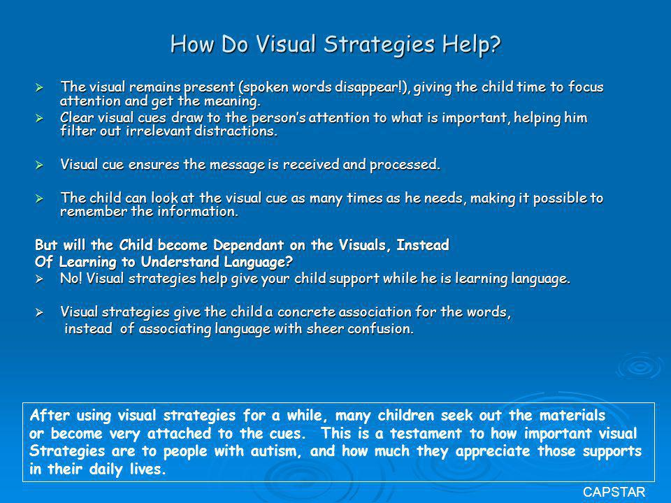How Do Visual Strategies Help? The visual remains present (spoken words disappear!), giving the child time to focus attention and get the meaning. The