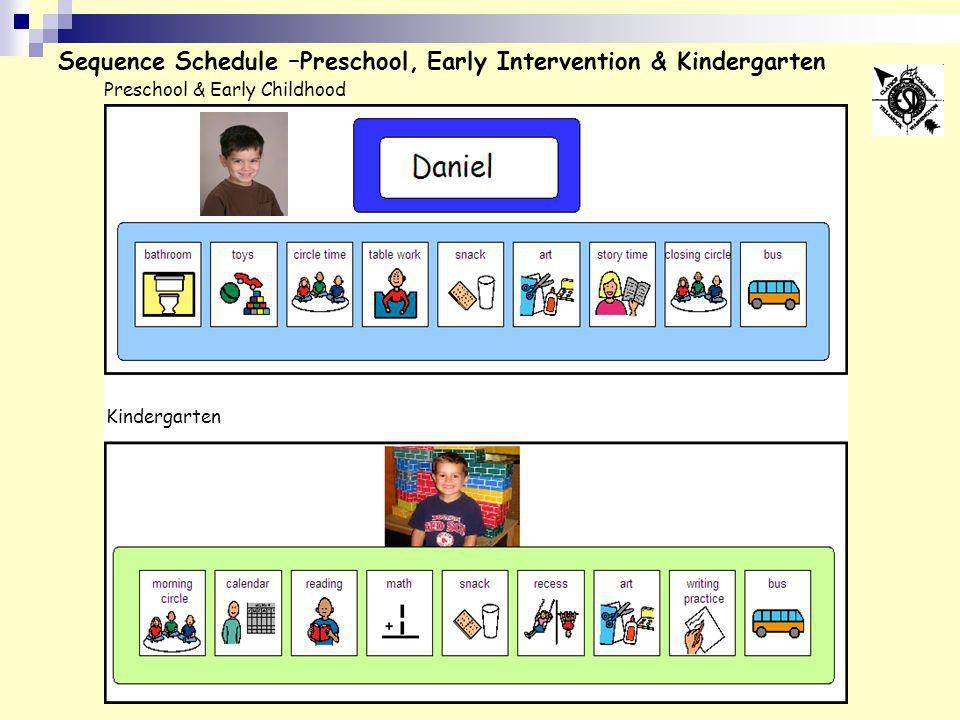 Sequence Schedule –Preschool, Early Intervention & Kindergarten Preschool & Early Childhood Kindergarten
