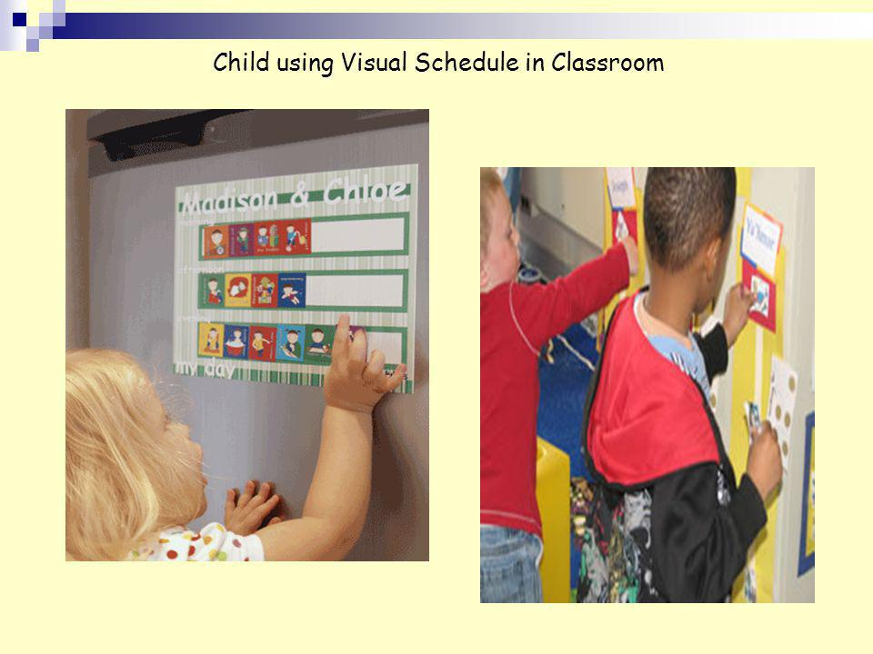 Child using Visual Schedule in Classroom