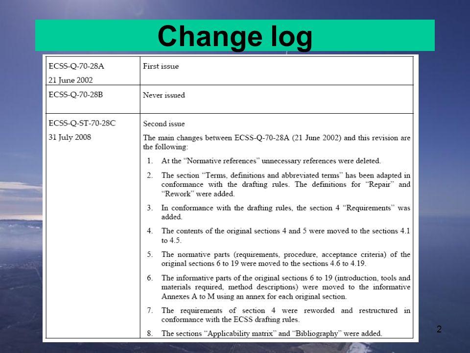 2 Change log