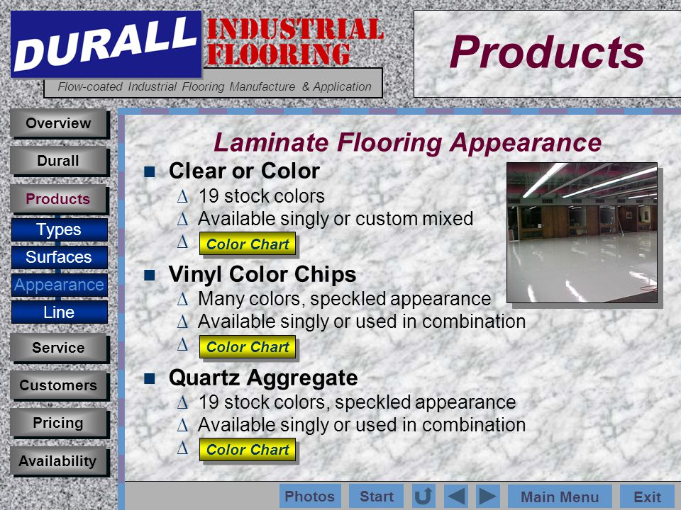 INDUSTRIAL FLOORING Flow-coated Industrial Flooring Manufacture & Application Main MenuExit Start Photos Products Overview Surfaces Appearance Customers Service Pricing Availability Durall Products Epoxy Colors Clear or 19 Stock Colors Available singly or custom mixed Types Vinyl Chips Quartz Line