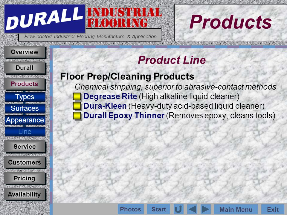 INDUSTRIAL FLOORING Flow-coated Industrial Flooring Manufacture & Application Main MenuExit Start Photos Products Overview Surfaces Appearance Line Customers Service Pricing Availability Durall Products Product Line Floor Prep/Cleaning Products Chemical stripping, superior to abrasive-contact methods Degrease Rite (High alkaline liquid cleaner) Dura-Kleen (Heavy-duty acid-based liquid cleaner) Durall Epoxy Thinner (Removes epoxy, cleans tools) Types