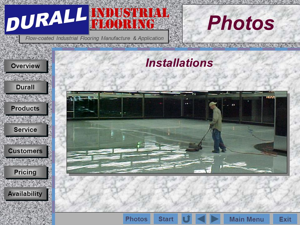 INDUSTRIAL FLOORING Flow-coated Industrial Flooring Manufacture & Application Main MenuExit Start Photos Installations Customers Durall Products Service Pricing Availability Overview