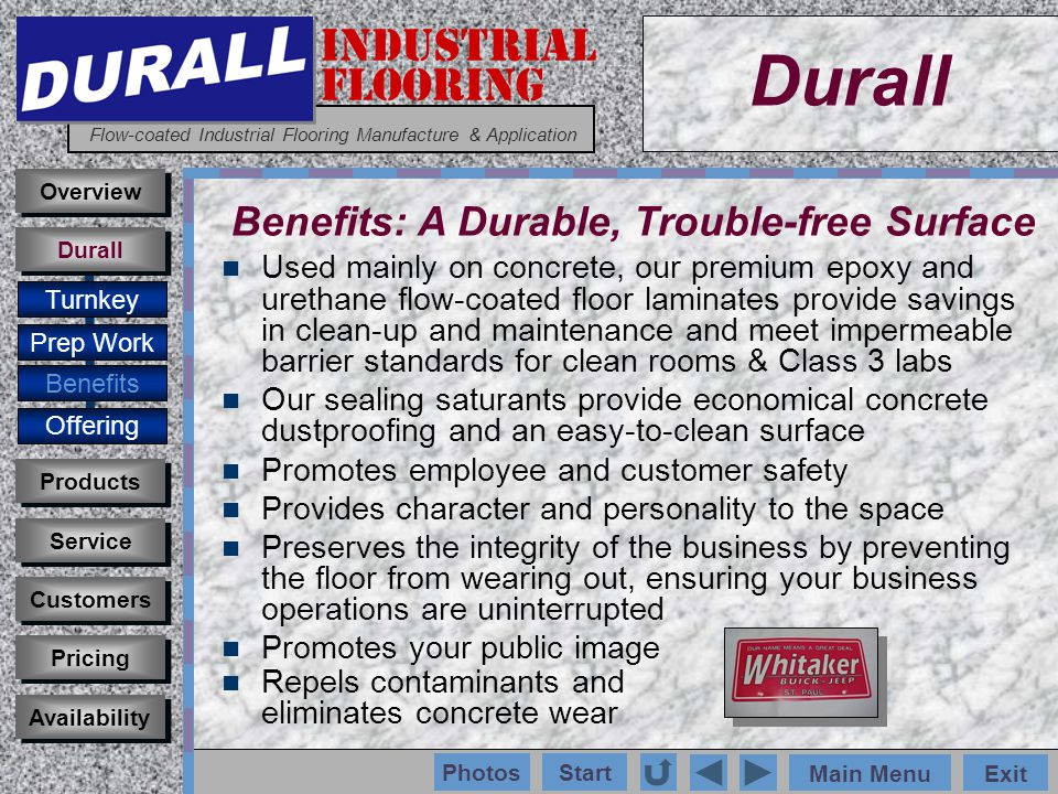 INDUSTRIAL FLOORING Flow-coated Industrial Flooring Manufacture & Application Main MenuExit Start Photos Used mainly on concrete, our premium epoxy and urethane flow-coated floor laminates provide savings in clean-up and maintenance and meet impermeable barrier standards for clean rooms & Class 3 labs Our sealing saturants provide economical concrete dustproofing and an easy-to-clean surface Promotes employee and customer safety Provides character and personality to the space Preserves the integrity of the business by preventing the floor from wearing out, ensuring your business operations are uninterrupted Promotes your public image Repels contaminants and eliminates concrete wear Customers Durall Products Service Overview Pricing Availability Turnkey Prep Work Benefits Offering Durall Benefits: A Durable, Trouble-free Surface