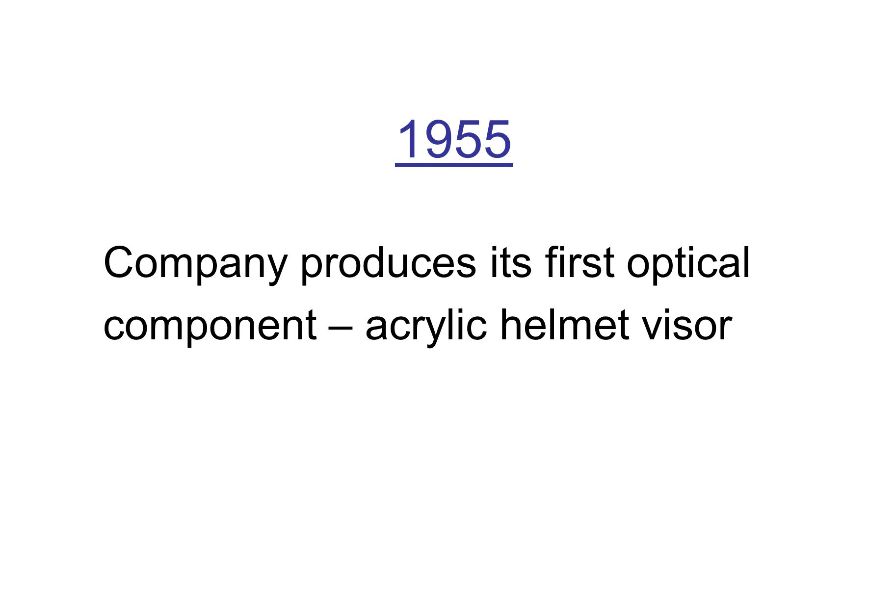 1955 Company produces its first optical component – acrylic helmet visor