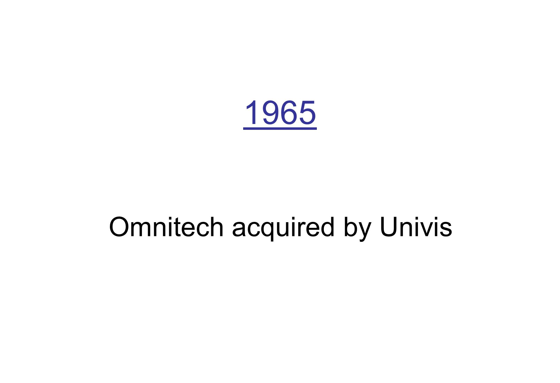 1965 Omnitech acquired by Univis