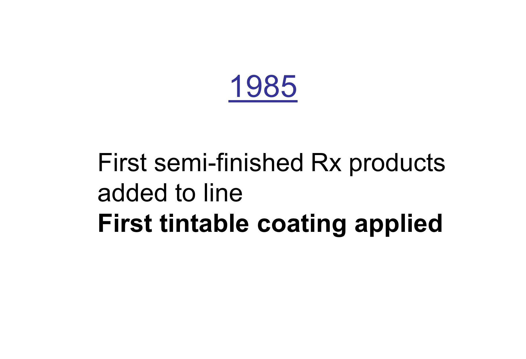 1985 First semi-finished Rx products added to line First tintable coating applied