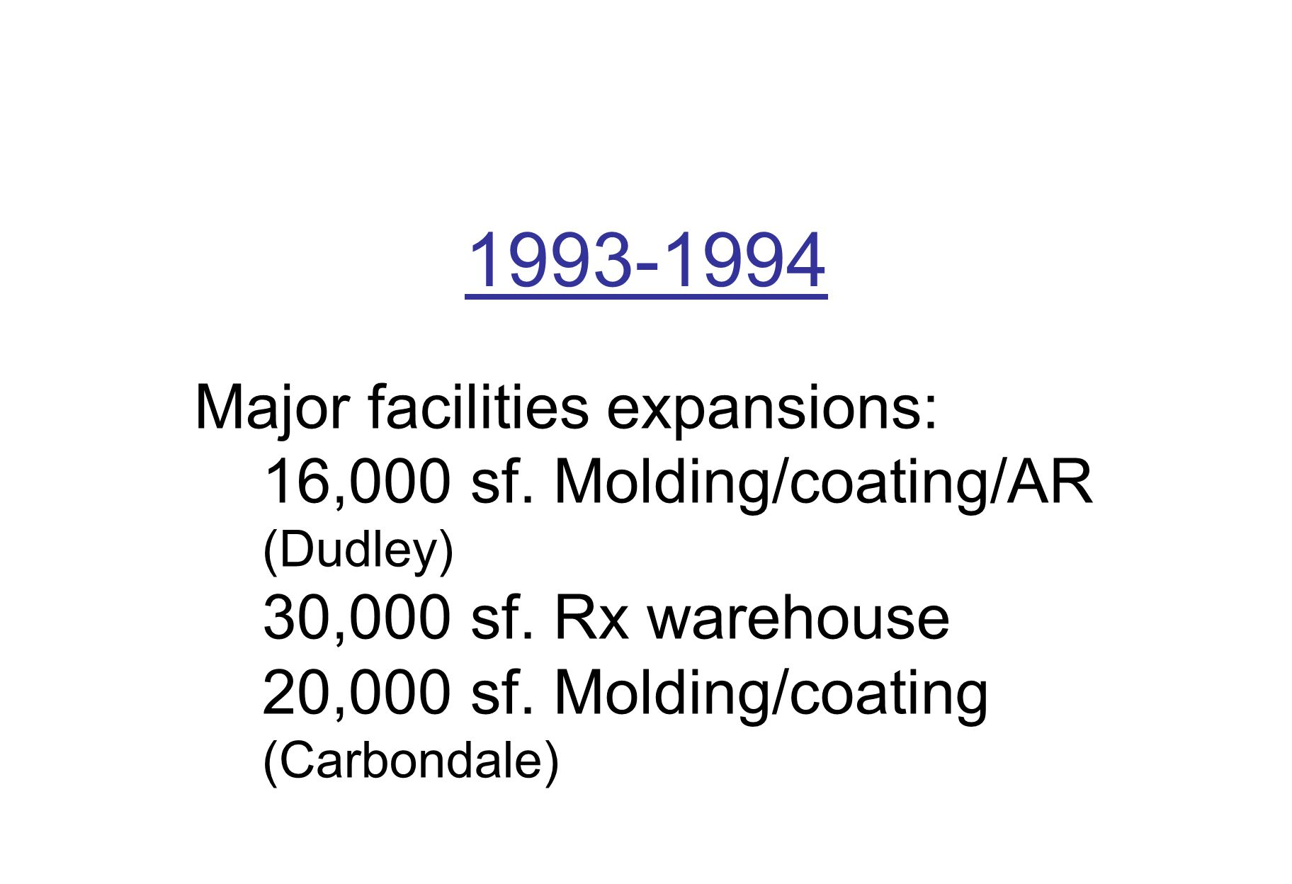 1993-1994 Major facilities expansions: 16,000 sf. Molding/coating/AR (Dudley) 30,000 sf.