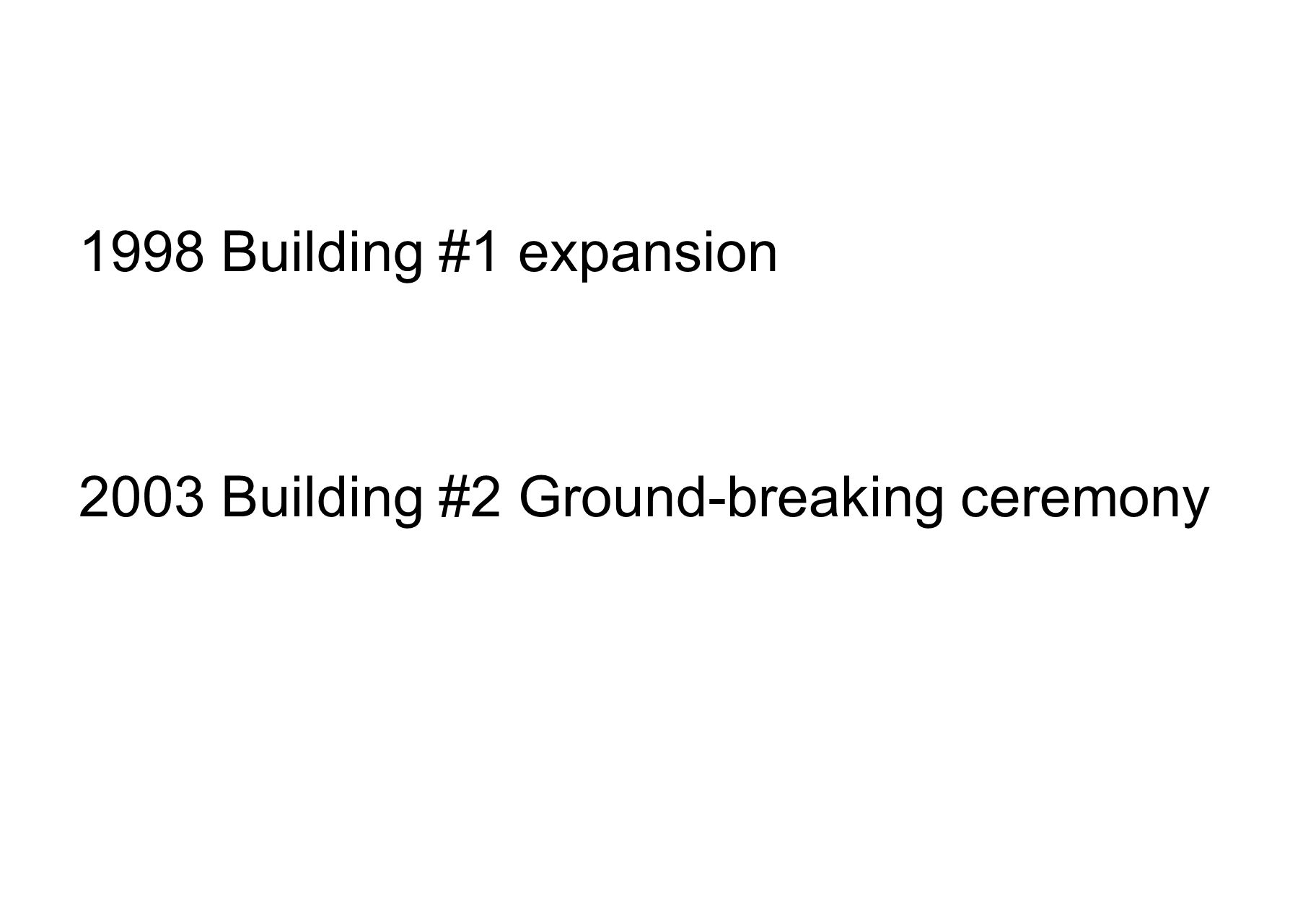 1998 Building #1 expansion 2003 Building #2 Ground-breaking ceremony