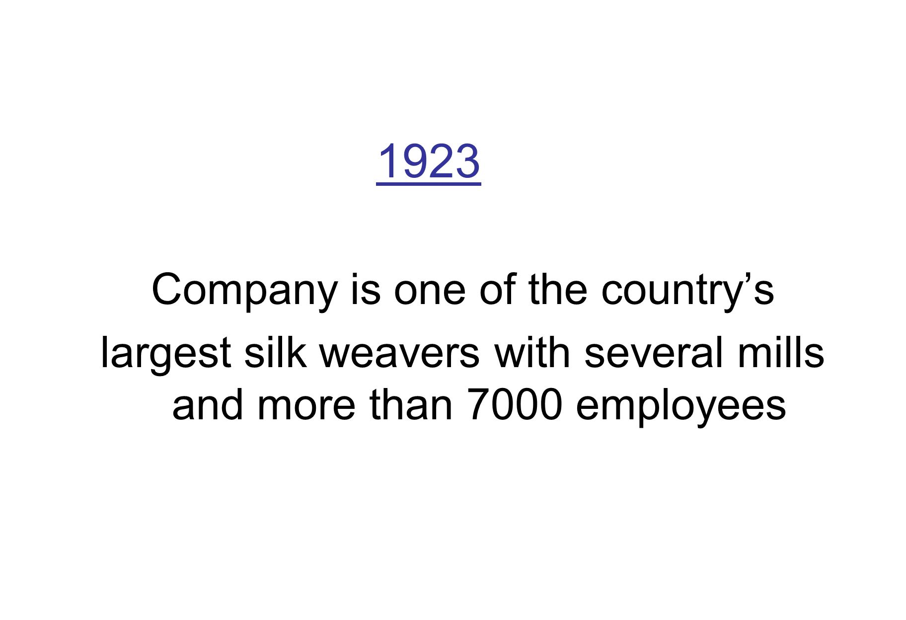 1923 Company is one of the countrys largest silk weavers with several mills and more than 7000 employees