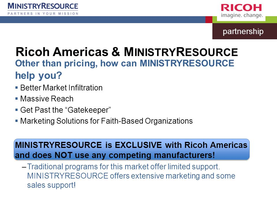 Other than pricing, how can MINISTRYRESOURCE help you.