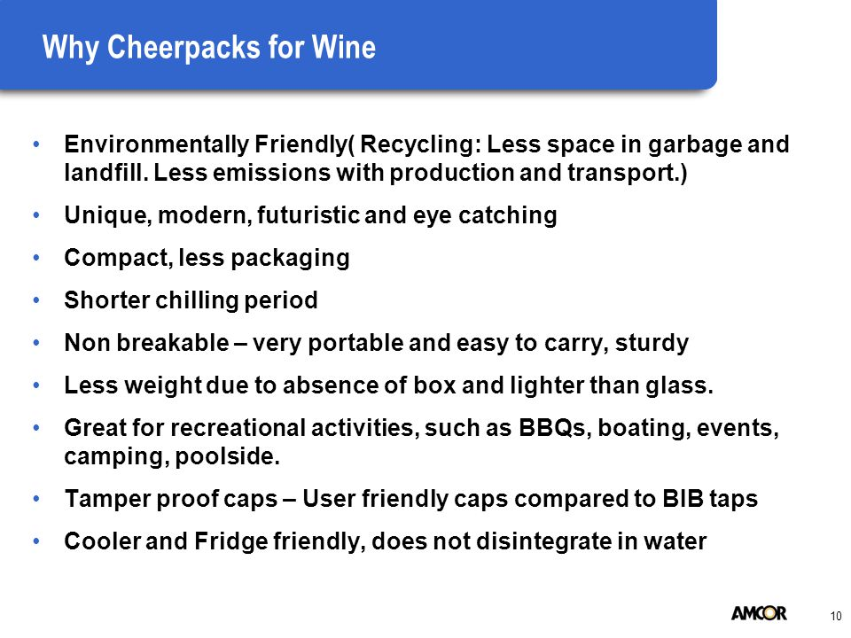 10 Why Cheerpacks for Wine Environmentally Friendly( Recycling: Less space in garbage and landfill.
