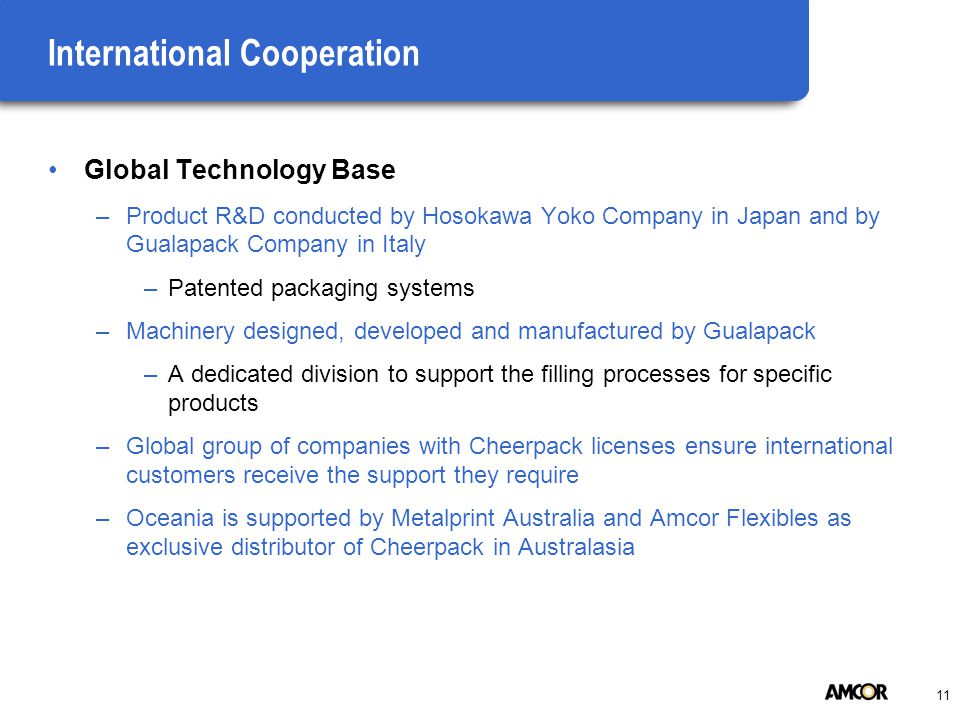 11 International Cooperation Global Technology Base –Product R&D conducted by Hosokawa Yoko Company in Japan and by Gualapack Company in Italy –Patented packaging systems –Machinery designed, developed and manufactured by Gualapack –A dedicated division to support the filling processes for specific products –Global group of companies with Cheerpack licenses ensure international customers receive the support they require –Oceania is supported by Metalprint Australia and Amcor Flexibles as exclusive distributor of Cheerpack in Australasia