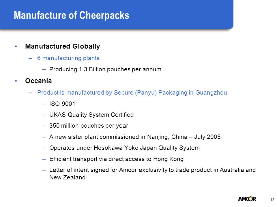 12 Manufacture of Cheerpacks Manufactured Globally –6 manufacturing plants –Producing 1.3 Billion pouches per annum. Oceania –Product is manufactured
