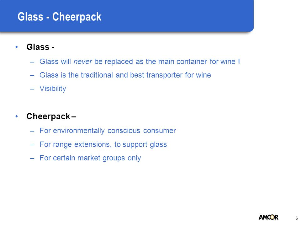 6 Glass - Cheerpack Glass - –Glass will never be replaced as the main container for wine .