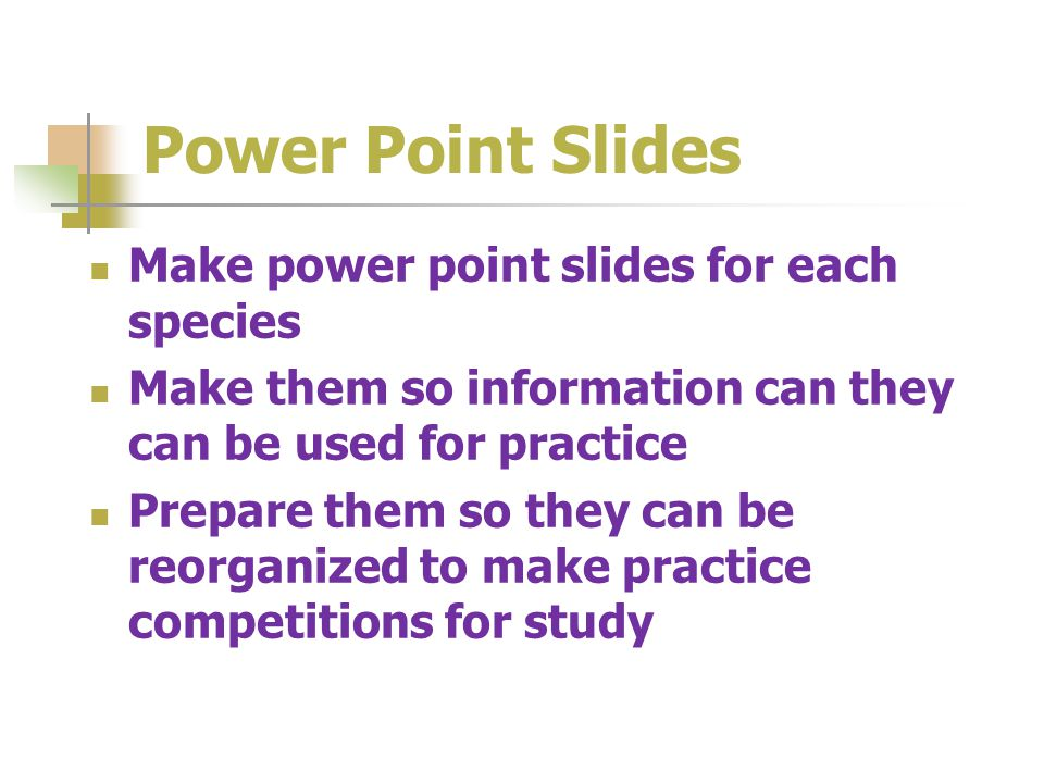 Power Point Slides Make power point slides for each species Make them so information can they can be used for practice Prepare them so they can be reorganized to make practice competitions for study