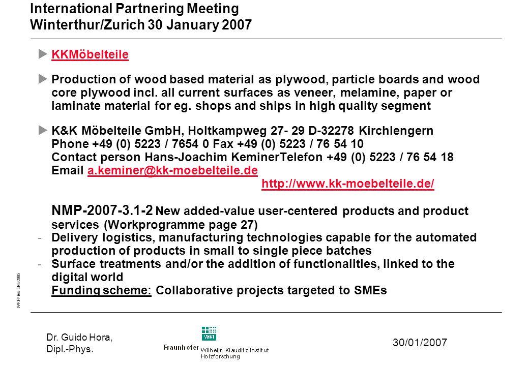 WKI-Pres.ENG2005 30/01/2007 Dr. Guido Hora, Dipl.-Phys.
