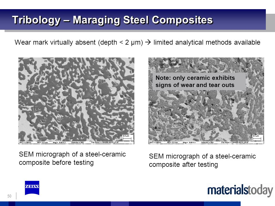 50 Tribology – Maraging Steel Composites Wear mark virtually absent (depth < 2 µm) limited analytical methods available SEM micrograph of a steel-ceramic composite before testing SEM micrograph of a steel-ceramic composite after testing Note: only ceramic exhibits signs of wear and tear outs