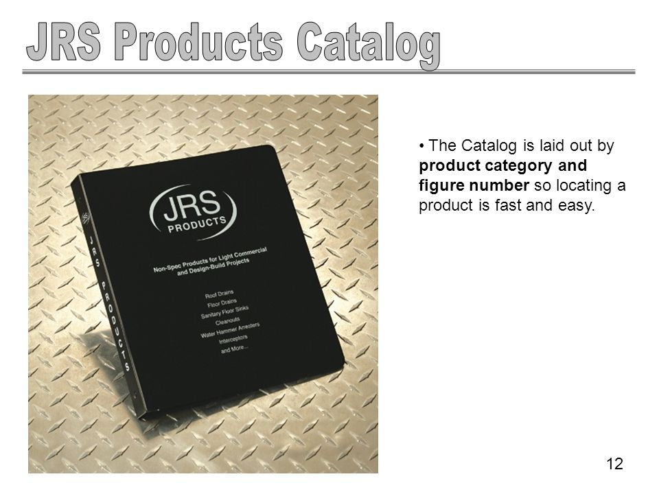 The Catalog is laid out by product category and figure number so locating a product is fast and easy. 12