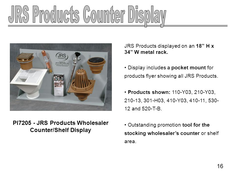 JRS Products displayed on an 18 H x 34 W metal rack. Display includes a pocket mount for products flyer showing all JRS Products. Products shown: 110-
