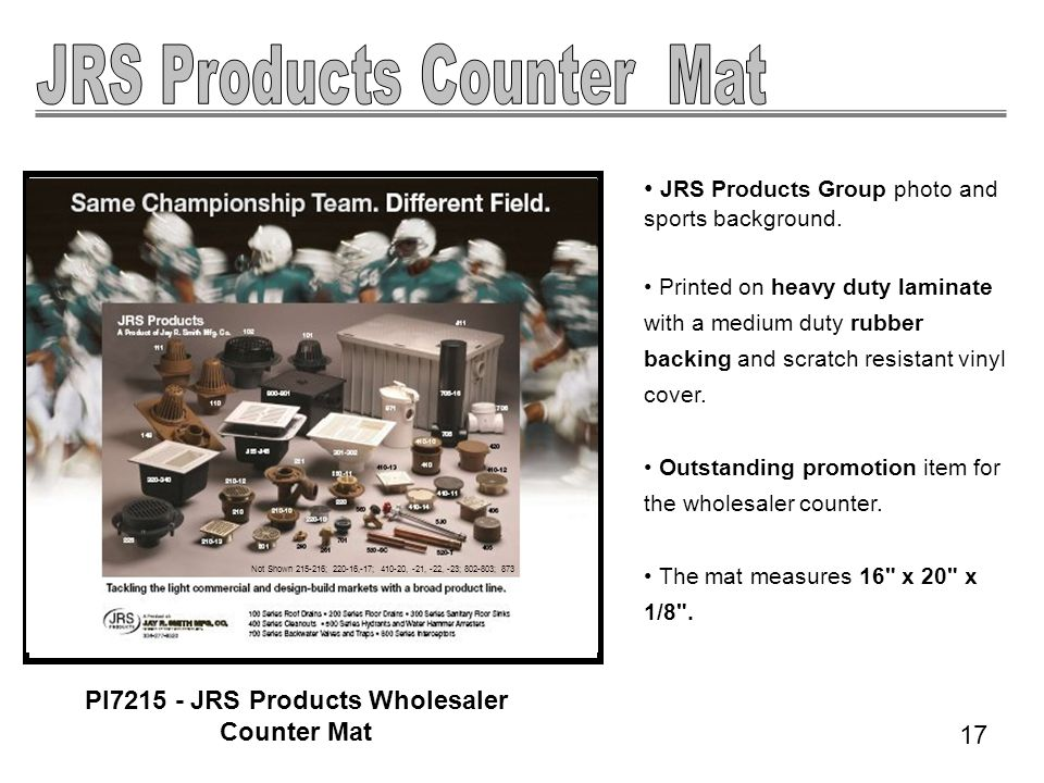 JRS Products Group photo and sports background.