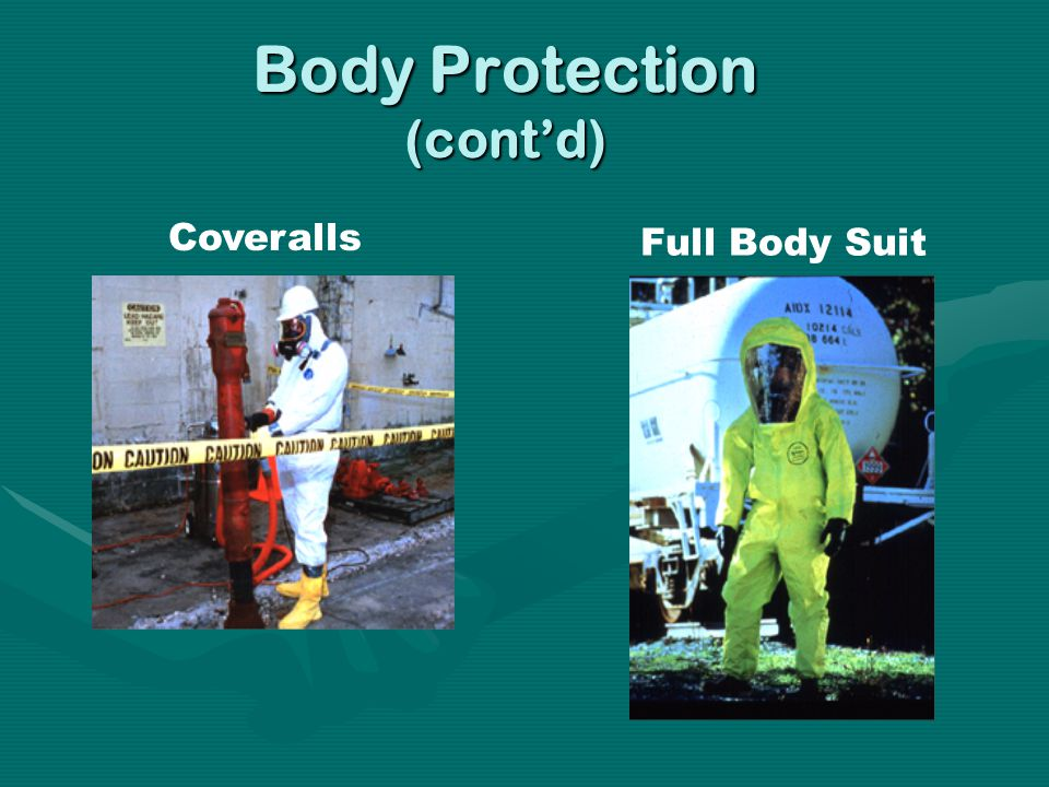 Coveralls Full Body Suit Body Protection (contd)