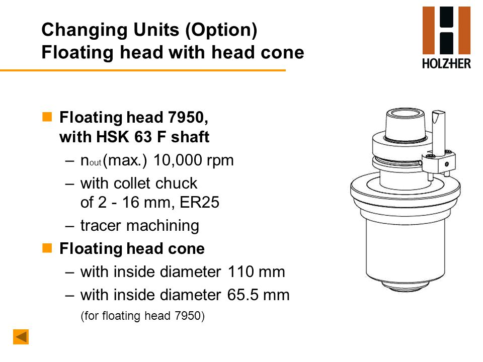 Changing Units (Option) Floating head with head cone nFloating head 7950, with HSK 63 F shaft –n out (max.) 10,000 rpm –with collet chuck of 2 - 16 mm, ER25 –tracer machining nFloating head cone –with inside diameter 110 mm –with inside diameter 65.5 mm (for floating head 7950)