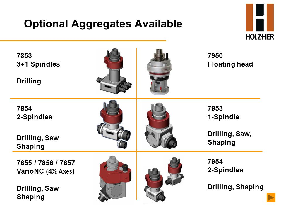 Optional Aggregates Available 7853 3+1 Spindles Drilling 7854 2-Spindles Drilling, Saw Shaping 7950 Floating head 7953 1-Spindle Drilling, Saw, Shaping 7954 2-Spindles Drilling, Shaping 7855 / 7856 / 7857 VarioNC (4 ½ Axes) Drilling, Saw Shaping