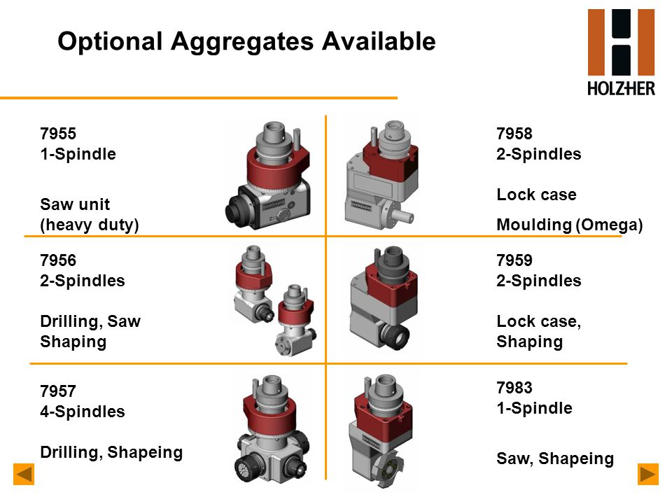 Optional Aggregates Available 7955 1-Spindle Saw unit (heavy duty) 7956 2-Spindles Drilling, Saw Shaping 7958 2-Spindles Lock case Moulding (Omega) 7959 2-Spindles Lock case, Shaping 7983 1-Spindle Saw, Shapeing 7957 4-Spindles Drilling, Shapeing