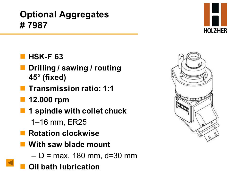 Optional Aggregates # 7987 nHSK-F 63 nDrilling / sawing / routing 45° (fixed) nTransmission ratio: 1:1 n12.000 rpm n1 spindle with collet chuck 1–16 mm, ER25 nRotation clockwise nWith saw blade mount –D = max.