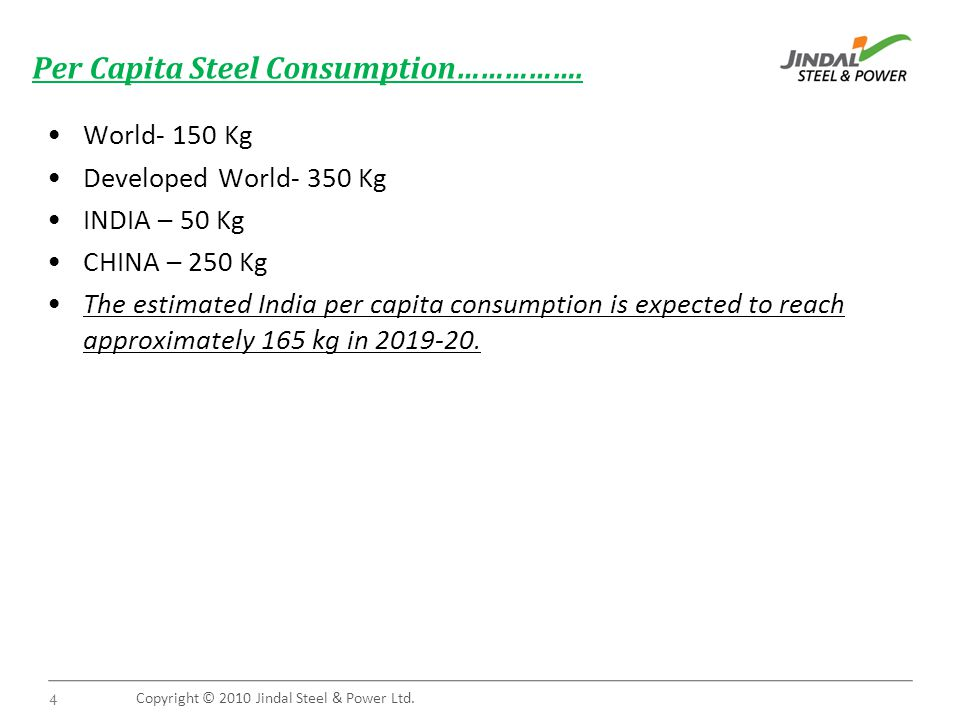Copyright © 2010 Jindal Steel & Power Ltd. 4 Per Capita Steel Consumption…………….
