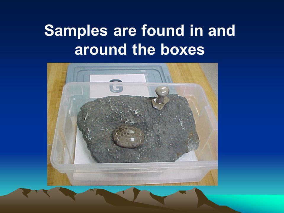 Samples are found in and around the boxes