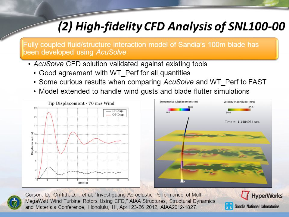 (2) High-fidelity CFD Analysis of SNL100-00 Fully coupled fluid/structure interaction model of Sandias 100m blade has been developed using AcuSolve Ac