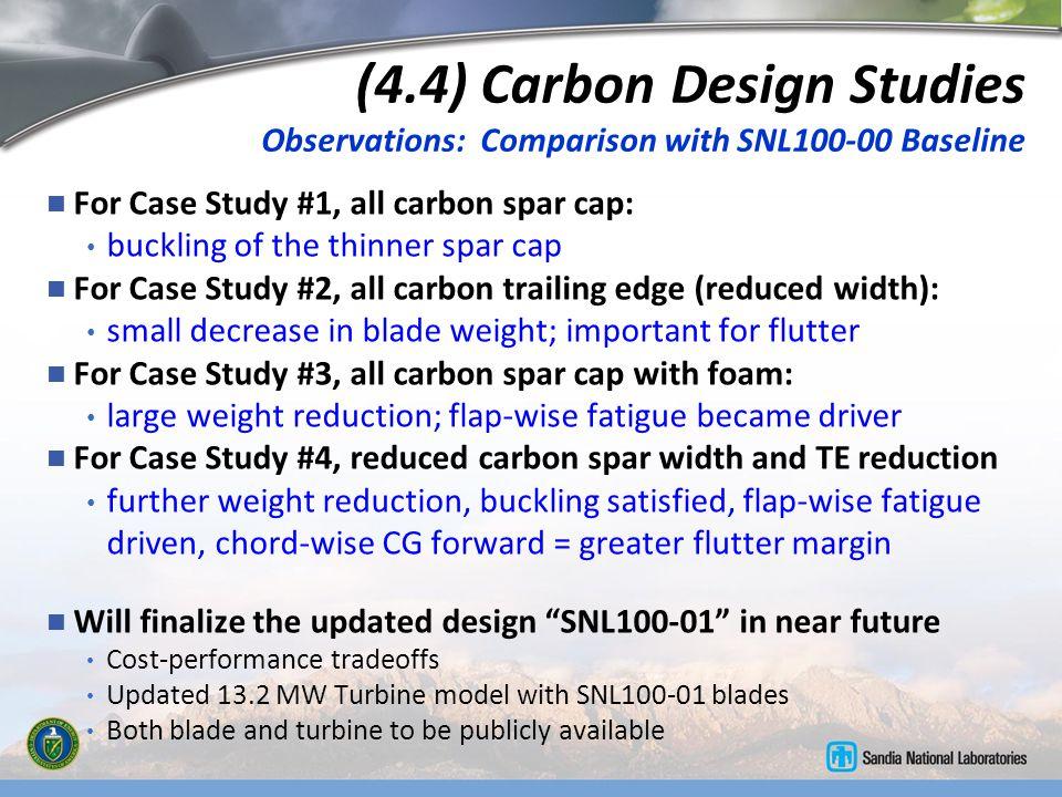 (4.4) Carbon Design Studies Observations: Comparison with SNL100-00 Baseline For Case Study #1, all carbon spar cap: buckling of the thinner spar cap